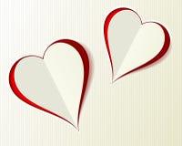 Papier-Schnittart mit zwei Valentine Love-Herzen Stockbild