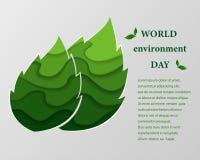 Papier schnitzen Design eco des freundlichen Naturkonzeptes, abstrakte grüne Tiefenschicht im Blattformhintergrund Stockfotografie