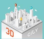 Papier-Stadt 3d Isometrische Gebäudelandschaft Stockbild