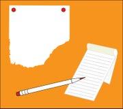 papier sur le fond orange Photo libre de droits