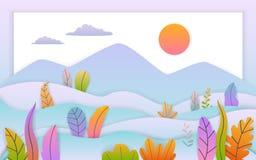 Papier sztuki stylu jesieni spadku rżniętego dziękczynienia kreskówki płaski krajobraz z miękkim gradientem barwiącym opuszcza kr ilustracji