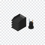 Papier Tray Isometric L'élément de vecteur de support de dossier de bureau peut être employé pour le dossier, support, Tray Desig Photos libres de droits