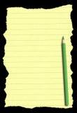 Papier und Bleistift getrennt auf tiefem schwarzem Hintergrund stockfotos