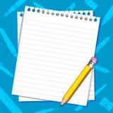 Papier-und Bleistift-Hintergrund Stockfotografie