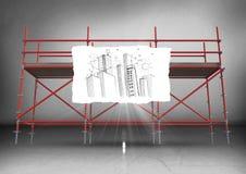 Papier z budynku doodle przeciw rusztowaniu w popielatym pokoju ilustracja wektor