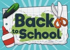 Papier z Mile widziany wiadomością i dostawami szkoła dla Z powrotem, Wektorowa ilustracja ilustracja wektor