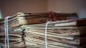 Papierarchive in den alten Dokumenten des Ordners oder im alten Buchstaben Lizenzfreies Stockfoto