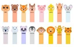 Papieraufkleberband werden von der Ecke mit Tieren für Kinder abgezogen Auch im corel abgehobenen Betrag Stockfoto