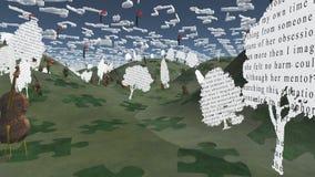 Papierbäume mit Text und Cellos sitzen in der hügeligen Landschaft mit Mus lizenzfreie abbildung