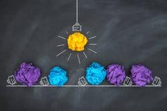Papierball auf Tafel, Ideen-Konzept Stockfotografie