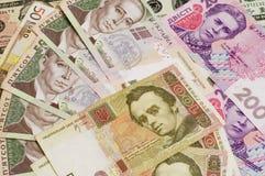 Papierbargeld berechnet 500 und 200 ukrainischer hryvnia Nahaufnahme Lizenzfreies Stockfoto