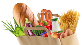 Papierbeutel mit Nahrung Lizenzfreies Stockfoto