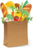 Papierbeutel mit Nahrung Stockbild