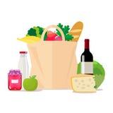 Papierbeutel mit Nahrung Einkauf am Supermarkt oder am Gemischtwarenladen Ein Satz gesundes Lebensmittel Gemüse und Früchte, Wein Lizenzfreie Stockfotos