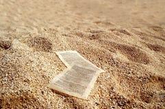 Papierblätter auf goldenen Sanden Lizenzfreies Stockfoto