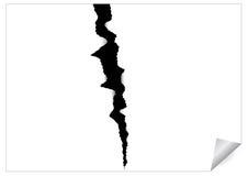 Papierblatt mit schwarzem zackigem Sprung Stockbild