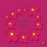 Papierblumen-Rotweinrahmen Lizenzfreies Stockfoto