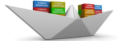 Papierboot mit Versandverpackungen Lizenzfreies Stockfoto