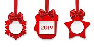 2019 Papierdekorationen des neuen Jahres für Tannenbaum lizenzfreie abbildung