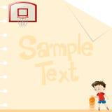 Papierdesign mit dem Jungen, der Basketball spielt Stockfotografie