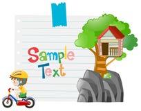 Papierdesign mit Jungenreitfahrrad Stockfoto