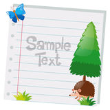 Papierdesign mit Kiefer und Igelem Stockbilder