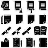 Papierdiplom- und Blattikonenset Stockfotos