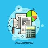Papierdokumenten-, Lupen-, Taschenrechner- und Kreisdiagramm Wirtschaftsberatungs- und Wirtschaftsprüfungsfirma, Budgetplanung, E stockfoto