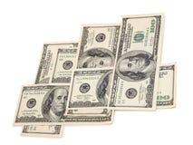 Papierdollar auf Weiß drei Lizenzfreies Stockfoto