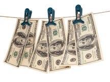 Papierdollar auf Weiß vier Lizenzfreie Stockfotos