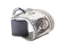 Papierdollar und Verschluss Lizenzfreie Stockfotografie
