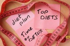 Papiere mit Mahlzeit planen, übersteigen Diätzeit zum Detox Stockbilder
