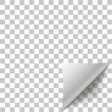 Papiereckschale Seite gekräuselte Falte mit Schatten Leerbeleg der gefalteten klebrigen Papieranmerkung Lizenzfreies Stockbild