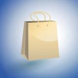 Papiereinkaufstasche auf blauem Hintergrund Stock Abbildung