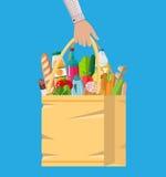 Papiereinkaufstasche voll Lebensmittelgeschäftprodukte Lizenzfreie Stockbilder