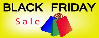 Papiereinkaufstaschen auf Black Friday-Verkaufs-Fahne Stockbild