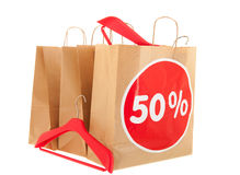 Papiereinkaufstaschen mit Rabatt Lizenzfreie Stockfotografie
