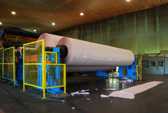 Papierfabriekfabriek: Fourdrinier Machine Stock Afbeelding