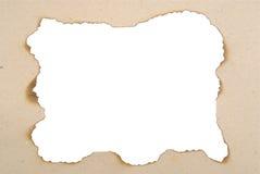 Papierfeld mit gebrannten Rändern Lizenzfreies Stockbild