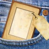 Papierfeld und Jeans Stockbild