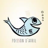 Papierfische und Text avril Poisson d, Aprilscherztag auf französisch Lizenzfreies Stockfoto