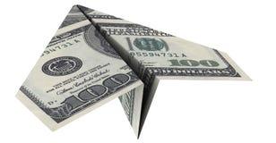 Papierflugzeug vom Dollar Stockbilder