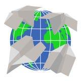 Papierflugzeuge fliegen um die Planet Erde Stockbilder