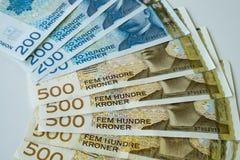 Papiergeld der norwegischen Krone stockfotos