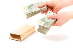 Papiergeld van Polen betaald voor staaf van goud royalty-vrije stock afbeeldingen