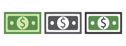 PapiergeldDollarscheine unterzeichnen Grüner und grauer Farbdollar-Geldvektor eps10 Banknotenikone vektor abbildung