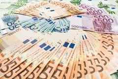 Papiergeldeuro Achtergrond van bankbiljetten Royalty-vrije Stock Foto