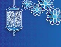 Papiergraphik der islamischen Laterne und der Sterne lizenzfreie abbildung