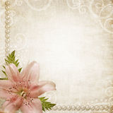 Papiergrunge Hintergrund mit rosafarbener Lilie Lizenzfreies Stockbild