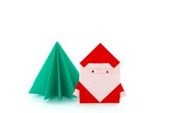 Papierhandwerk Santa Claus And Christmas Tree Lizenzfreies Stockbild